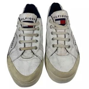 Vintage Tommy Hilfiger Flag Leather White Sneakers